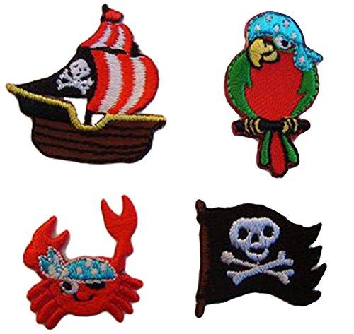 alles-meine.de GmbH 4 TLG. Set: Pirat Bügelbilder - Piraten / Aufnäher Sticker - Applikation Patch Aufbügler - Seefahrer - Piratenschiff