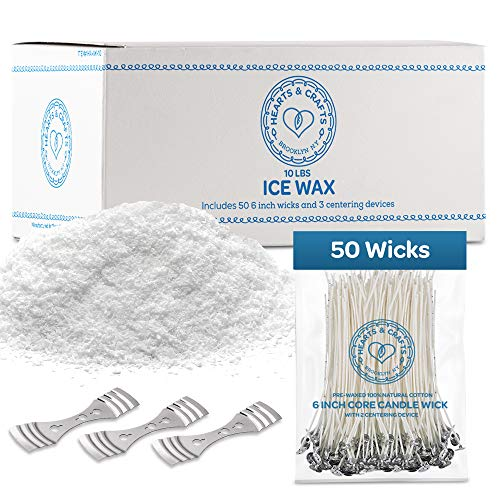 Hearts and Crafts Ice Candle Wax and Wicks for DIY Candle Making, All-Natural - 10lb Bag with 50ct 6