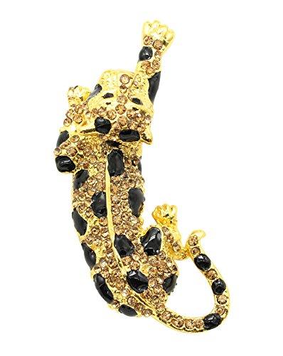 KristLand - Damen österreichischen Kristall mit Emaille Niedlichen Tier Brosche Corsage Schal Clips für Männer/Frauen Schmuck Leopard