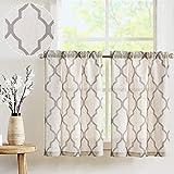 TOPICK Visillo Sheer cortina de bistro semitransparente cortina cortina de gasa par cortina cortina cortina ventana para cocina salón casa rural 2 unidades 65B x 60H (cm) gris
