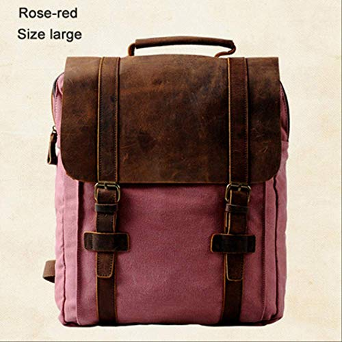 YMKWQF Sac À Dos Vintage Fashion Backpack Leather Military Canvas Backpack Men Backpack Women School Backpack School Bag Backpack Rucksack Rose Red Size Large
