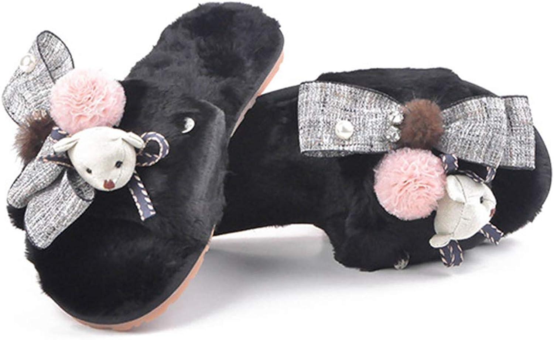 Womens House Slipper Open Toe Single Strap Slip On Faux Fur Feather Vegan Warm Slides for Girls Ladies