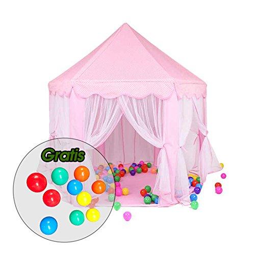 Aquagart® Kinderzelt Kinderspielzelt inklusive 10 Spielbällen Spielzelt Bällebad Prinzessinnenzelt Kinderschloss Spielzelt (Pink)