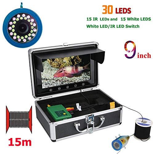 Mengen88 onderwatercamera, visvinder, 1000 TVL, 15 stuks, witte leds + 15 infrarood lamp HD 1204 x 600, 15 m kabellengte