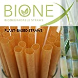 "Bionex - New Biodegradable Sugarcane Straws, (8"" Length straw), (100 straws/box) Alternative to Plastic"