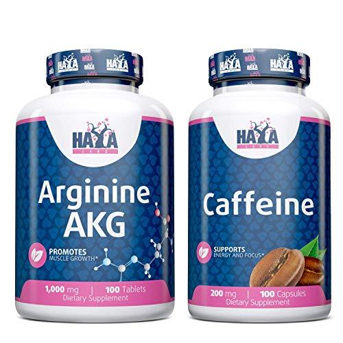 Haya Labs Bundle Arginine AKG 1000mg 100 Tablets and Caffeine 200mg 100 Capsules