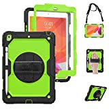 TSQ iPad 10.2 Case 2020 2019 with Pencil Holder [Built-in Screen Protector], Dropproof Rugged Protection Case with Stand Hand Handle Shoulder Strap for iPad 8th 7th Generation, Green+Black