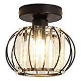 YYJLX Semi Flush Mount Ceiling Light Fixture Antique Small Crystal Chandelier Indoor...