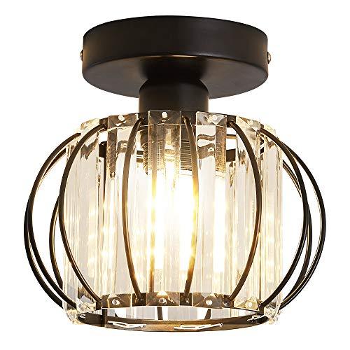 Modern Crystal Chandelier Mini Semi Flush Mount Ceiling Light Fitting LED Light Shades for Hallway Hall Bedroom Living Room Bathroom Landing Kitchen(Black)
