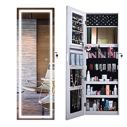 GPAIHOMRY Gabinete de almacenamiento de joyas con espejo, almacenamiento de armario con pantalla táctil, luces LED, organizador de collares, 40 x 10,5 x 120 cm