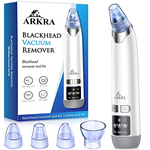 ARKRA Blackhead Remover, Pore Vacuum Face Cleaner Blackhead Remover Kit Pimple Sucker Blackhead Suctioner Vacuum Extractor with Hot Compress - Black Heads Romoval Tool for Women and Men