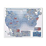 Maps International - Scratch Off USA Map Skiing Print - 17 x 22 inches