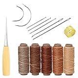 Yulakes - Set di 14 aghi per cucire a mano, tappezzeria, pelle, tela, fai da te, con 5 fili da 50 m, 150D