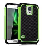 kwmobile Funda Compatible con Samsung Galaxy S5 / S5 Neo - Carcasa Protectora de TPU - Cover Trasero en Verde/Negro