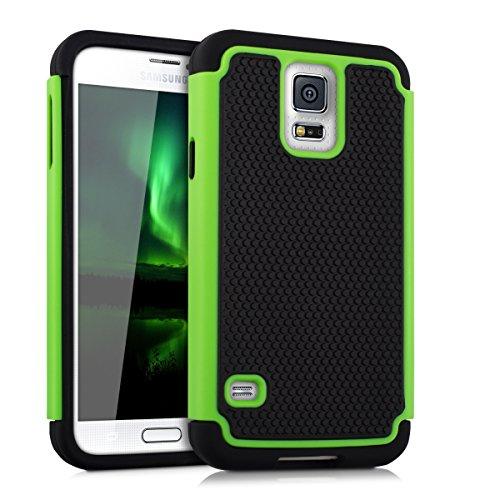 kwmobile Hülle kompatibel mit Samsung Galaxy S5 / S5 Neo - Hybrid Handy Cover Handyhülle Case Schutzhülle in Grün Schwarz