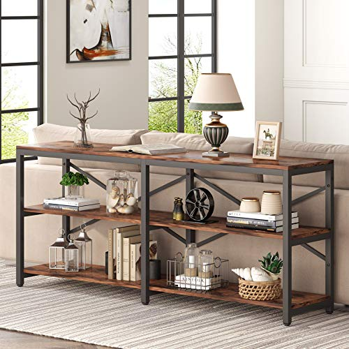 Tribesigns 70.9 Inch Extra Long Console Table, Rustic Sofa Table Behind Couch Table with Storage Shelves, 3-Tier Industrial Hallway Entryway Table for Living Room, 3 Shelf Open Bookshelf (Brown)
