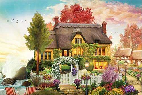 Flower House and Cottage Puzzle-1000 Pieces of Children's Puzzle-Adult Leisure and Entertainment DIY Puzzle Game
