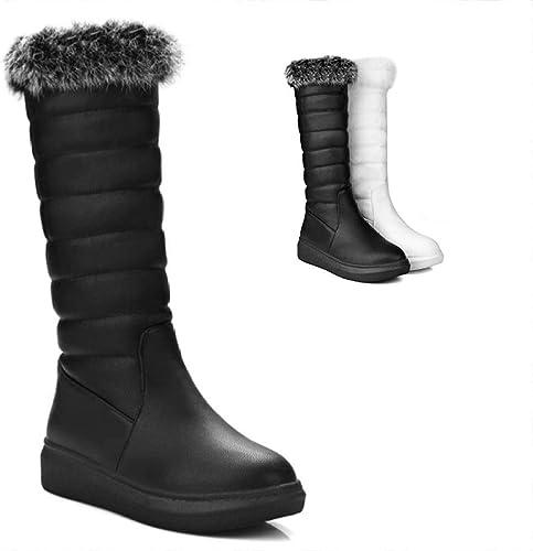 Fuxitoggo Stiefel para damen - Stiefel de Invierno Planas Stiefel largas Slim High Cotton schuhe 34-43 (Farbe   schwarz, tamaño   38)