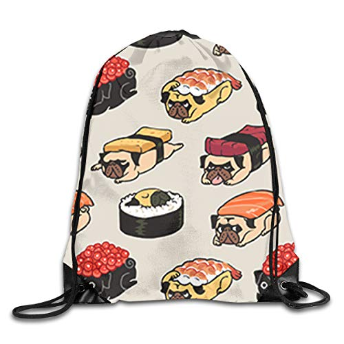 Dog Roller Cute Japanese Best Sushi Rice Patterned Themed Printed Drawstring Bundle Book School Shopping Travel Back Bags Draw String Gym Backpack Bulk Girl Boy Women Men