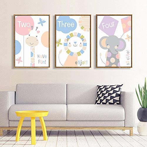 IGZAKER Nordic Eenvoudige Handgetekende Cartoon Dier Ballon Kinderkamer Canvas Schilderij Kunst Poster Foto Muur Slaapkamer Home Decor-50x70cmx3pcs geen frame