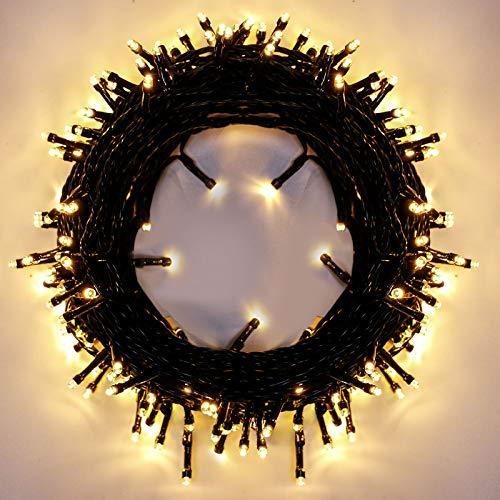 Luci natalizie a LED per interni ed esterni 25m 220 LEDs con 8 modalità di memoria end-to-end estensibile Stringa Luci Decorazione per Giorno di Natale alberi domestici Festa di nozze - Bianco caldo