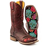 Women's Tin Haul Mon Cherry Boots with Skull and Roses Sole Handcrafted