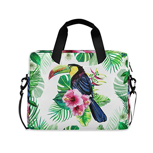 Anantyy Laptop Bag Tropical Leaves Toucan Bird Laptop Case for 14-15.6 Inch Computer and Tablet Shoulder Bag Carrying Case for Work Office School