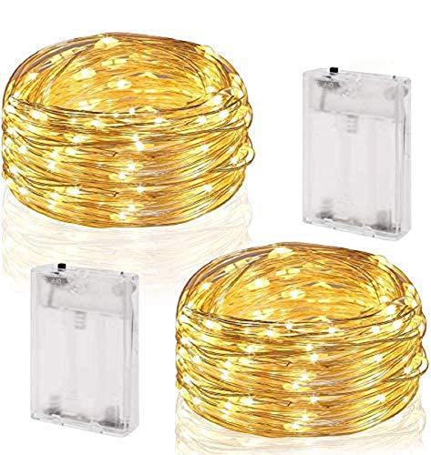CDWERD 2 x 50er LED Lichterkette 10.4M Kupferdraht Micro Lichterkette Batteriebetrieb für Innenraum, Hof, Fenster, Party, Hochzeit, Weihnachten, Halloween und Deko (Warmweiß)