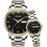OLEVS Valentines Couple Pair Watches for Men and Women Lovers Romantic Wedding Gifts Set of 2,His and Hers Business Black Dial Quartz Day Date Wrist Watch Waterproof Luminous with Stainless Steel Band