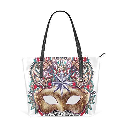 NR Multicolour Fashion Damen Handtaschen Schulterbeutel Umhängetaschen Damentaschen,Venezianischen Karneval Maske Silhouette mit ornamentalen Elementen Maskerade Kostüm