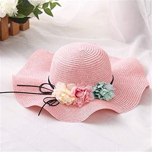 Sombrero Para El Sol Para Mujer Floppy UPF 50 Moda padre-niño lindo flor sol sombreros niña hecha a mano paja ola ancha sombrero sombrero sombrero sombrero verano mujer Sombrero De Playa Plegable Tall