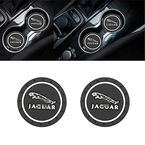 ZOORG 2 pcs Set 2.75 Inch Diameter Car Cup Holder Coasters,Oval Tough Car Logo Vehicle Travel Auto Cup Logo Heavy Duty Rubber Coaster (J-a-gu-ar)