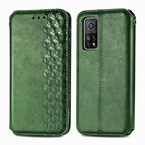 TOPOFU Leder Folio Hülle für Xiaomi Mi 10T/10T Pro, Premium PU/TPU Flip Wallet Tasche mit Kartenfächern, Magnetic, Book Style Lederhülle Handyhülle Schutzhülle (Grün)