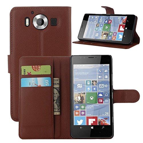 Ycloud Tasche für Nokia Microsoft Lumia 950 Hülle, PU Ledertasche Flip Cover Wallet Hülle Handyhülle mit Stand Function Credit Card Slots Bookstyle Purse Design braun