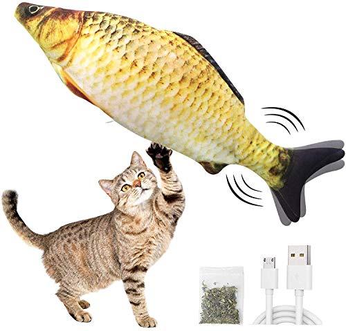 Katzenspielzeug Fisch, Elektrische Fische Katze, Catnip Spielzeug, katzenminze Fisch, USB Electric Moving Fish Cat Toy, Katzenminze Fischspielzeug Das Katzen anziehen kann Um aktiv zu trainieren
