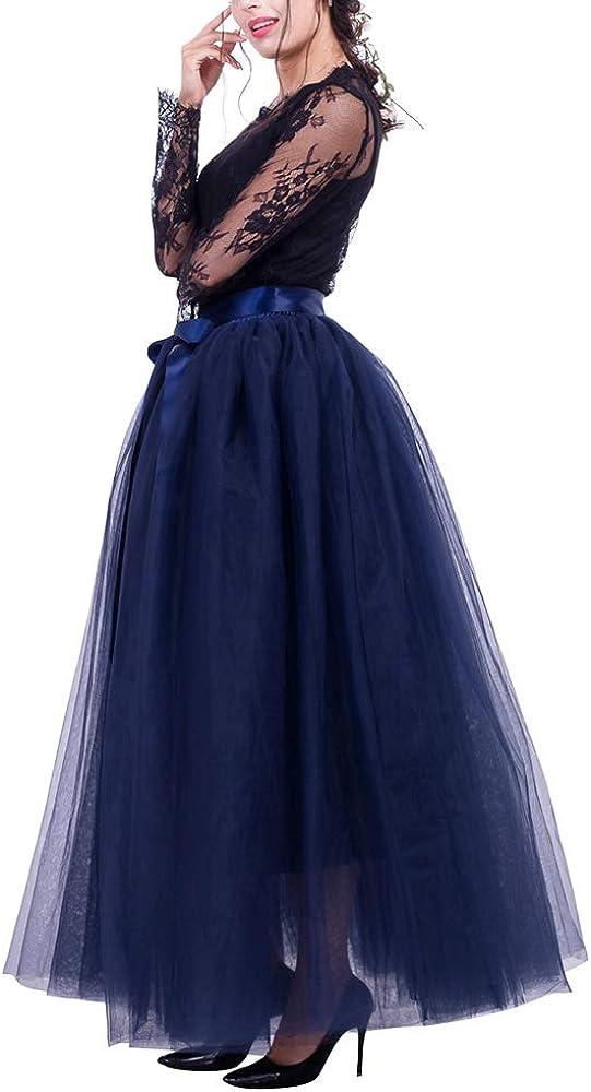 Acqrobe Women's Tulle Skirt - 4 Layers Maxi Tutu Skirt Party Dancing Prom Dress