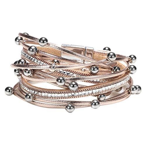 Fransande Pulsera de múltiples capas de moda para las mujeres de cuero vintage pulseras y brazalete Femme fiesta joyería de oro