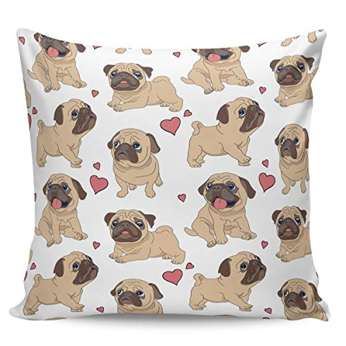 Winter Rangers Fundas de almohada decorativas, diseño de carlino y corazón de perro pequeño amor ultra suave funda de cojín cuadrada cómoda para sofá dormitorio, 40,6 x 40,6 cm
