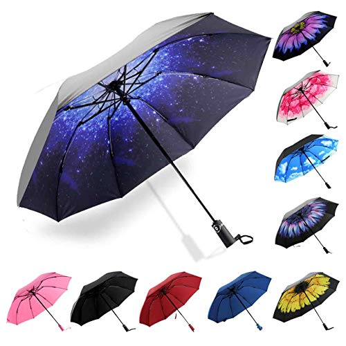 Siepasa Inverted Travel Umbrella, Anti-UV Waterproof Windproof Folding Umbrella -One button for Auto Open and Closen(Starry Sky)