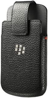 Holster Leather Swivel Holster for Rim BlackBerry Q10 - Retail Packaging - Black