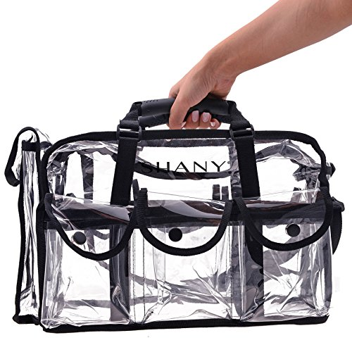 SHANY Clear Makeup Bag, Pro Mua rectangular Bag with Shoulder Strap, Large