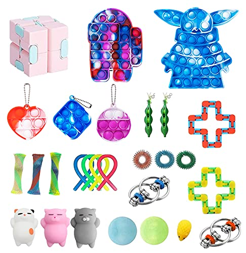 ZNNCO 28 Pack Sensory Fidget Toys Set, Relieves Stress and Anxiety Fidget Packs for Children Adults, Figetget Toys Pack Perfect for Classroom Reward, Birthday