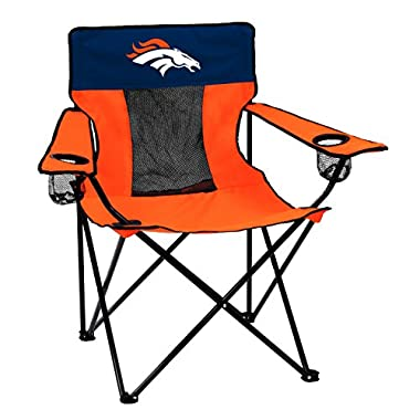 Logo Brands NFL Denver Broncos Folding Elite Chair with Mesh Back and Carry Bag, Carrot, One Size