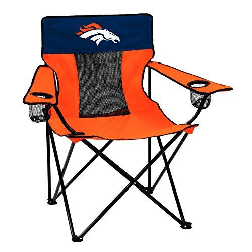 Logo Brands NFL Denver Broncos Folding Elite Chair with Mesh Back and Carry Bag , Carrot, One Size