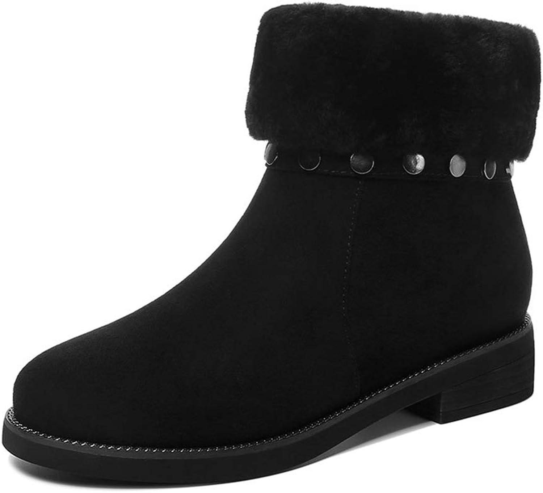 Drew Toby Women Snow Boots Winter Plus Velvet Thick Warm Round Toe Booties