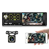 Car Stereo Bluetooth Hand-Free, ZIJIN 4.1-Inch 1 DIN Car MP5 Player HD 1080P Touch Screen Car Radio FM Dual USB Mirror Link Wireless SWC Remote Rear Microphone 7 Color Backlight + Rearview Camera
