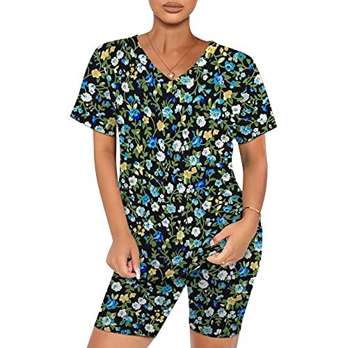 YANFANG Ropa De Yoga Estampado Leopardo para Muer, Conjunto Pantalones Cortos Casuales Manga Corta con Cuello En V Mujer 2 Piezas,Conjunto CháNdal Camisas Fitness Larga Casual,Azul Claro,XL