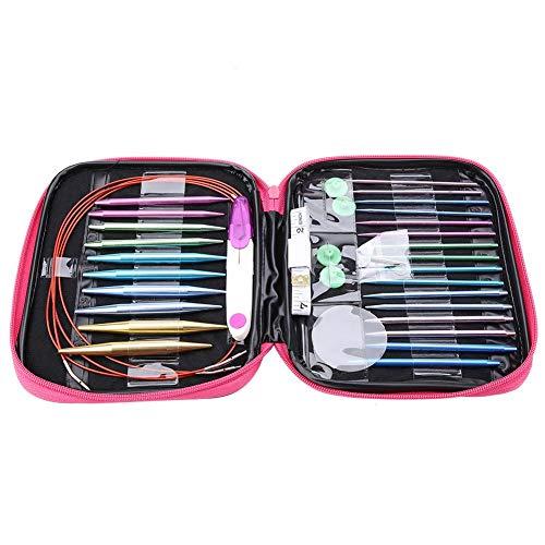 Agujas de tejer, 26 piezas de agujas de tejer intercambiables de aluminio con 4 piezas de cables de plástico circulares Set de herramientas de tejido Kits de tejer con estuche de...