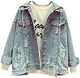 Snhpk Women's Oversized Loose Boyfriend Detachable Hoodie Denim Jackets Jean Coats