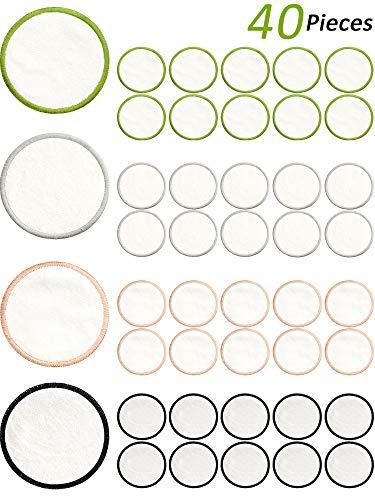 40 Pièces Tampons Démaquillants Réutilisable Tampons en Cotonde Bambou Bio Tampons de Maquillage Lavables Ronds avec Sac à Linge pour Nettoyage du Visage Tous Types de Peau
